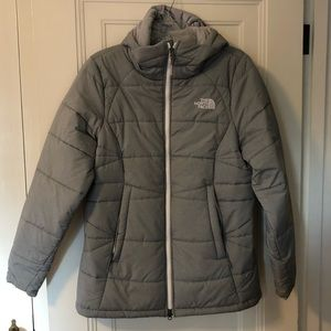 North Face Gray Hooded Coat Size Large